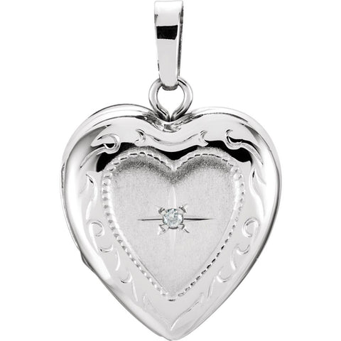 13.50x12.75 mm Heart Shaped Locket with Diamond in 14K White Gold
