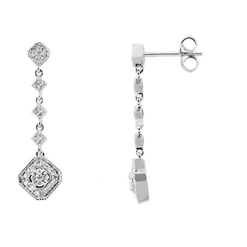 Pair of 1/3 CTTW Diamond Earrings in 14k White Gold