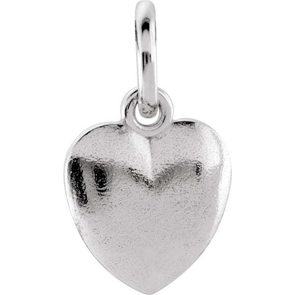 14k White Gold 15.15x8.9mm Puffed Heart Charm with Jump Ring