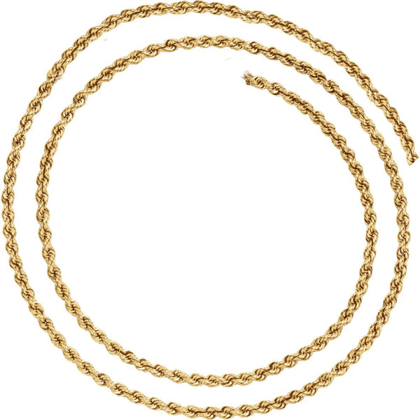 "14k Yellow Gold 3mm Rope 16"" Chain"