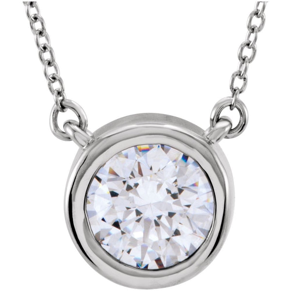Sterling Silver Bezel Set Solitaire Necklace