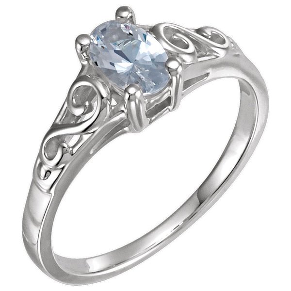 Sterling Silver April Imitation Birthstone Ring , Size 5