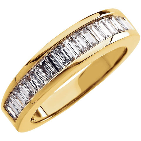14k Yellow Gold 1 CTW Diamond Baguette Anniversary Band Size 7