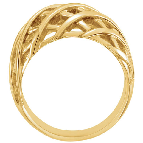 14k Yellow Gold 11mm Latticework Dome Ring, Size 6