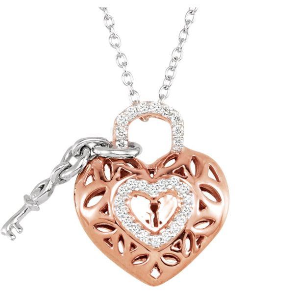 "10k Rose Gold 1/6 CTW Diamond Heart 18"" Necklace"