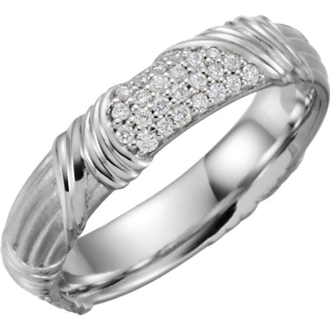 Platinum 1/4 CTW Diamond Sculptural-Inspired Band, Size 7