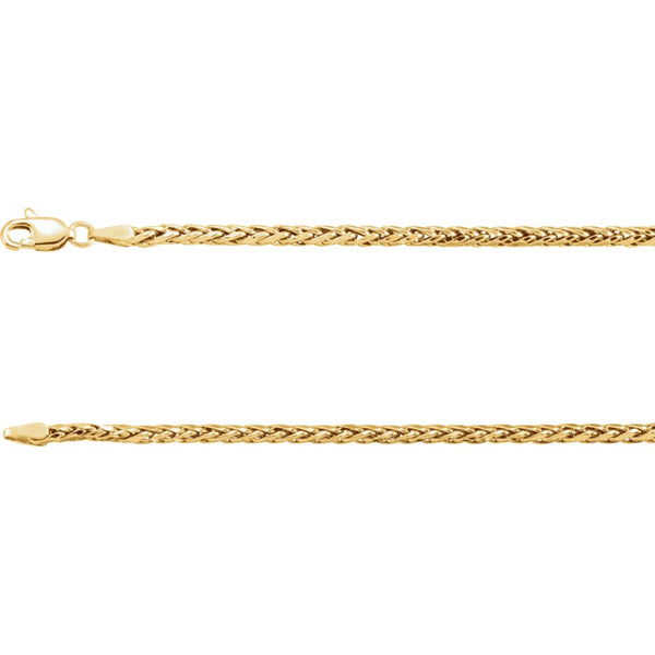 "14k Yellow Gold 3mm Hollow Wheat 18"" Chain"