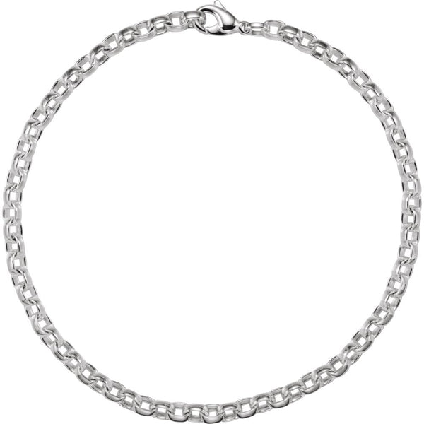 "Sterling Silver 6.75mm Flat Cable 18"" Chain"