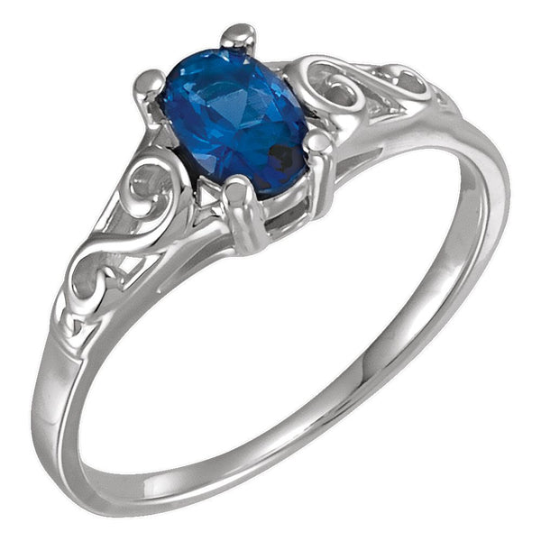 Sterling Silver September Imitation Birthstone Ring , Size 5