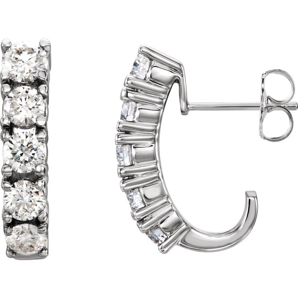 14k White Gold 1 1/2 CTW Diamond Earrings