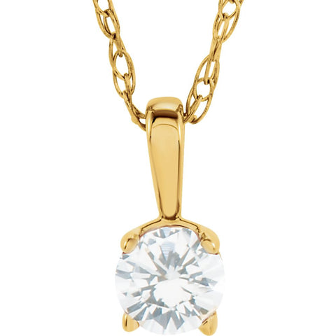 "14k Yellow Gold Imitation Diamond ""April"" Birthstone 14-inch Necklace for Kids"