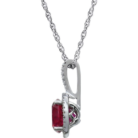 "Sterling Silver 7mm Lab-Grown Ruby & .015 CTW Diamond 18"" Necklace"