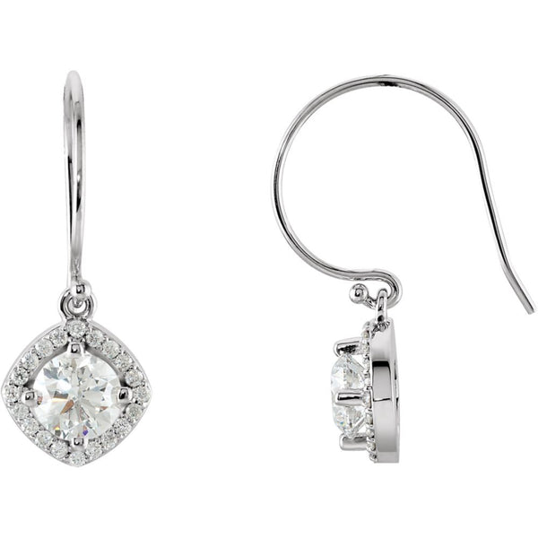 14k White Gold 1 3/4 CTW Diamond Earrings