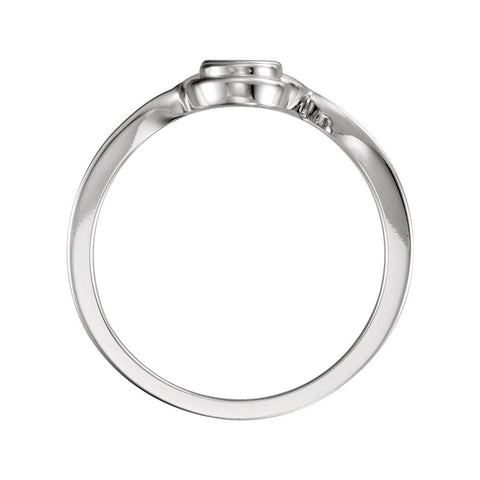 14k White Gold 3.4mm Round Three-Stone Ring Mounting , Size 7