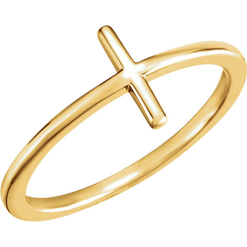 14k Yellow Gold Sideways Cross Ring, Size 7