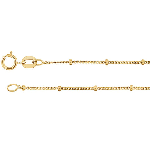14K Yellow Gold 1mm Solid Beaded Curb 16-Inch Chain
