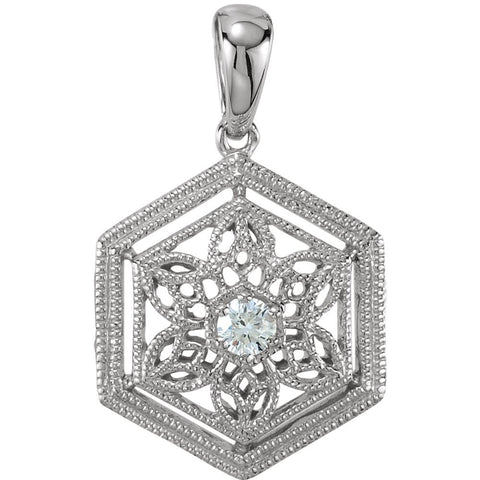 14k White Gold .05 CTW Diamond Filigree Pendant