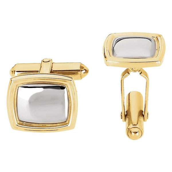 Sterling Silver & 14k Yellow Gold 14x16mm Square Cuff Link-Each