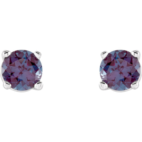 14k White Gold 4mm Round Chatham® Created Alexandrite Earrings