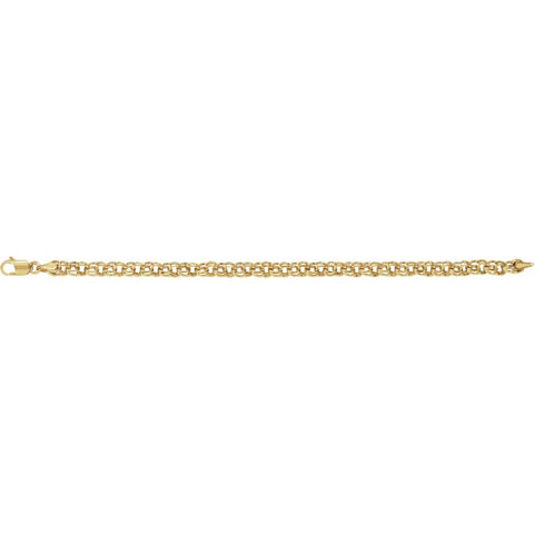 "14k Yellow Gold Solid Charm 7"" Bracelet"