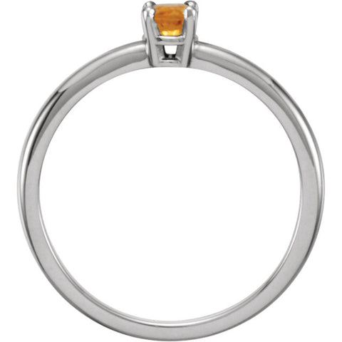 "Sterling Silver Imitation Citrine ""November"" Youth Birthstone Ring, Size 3"