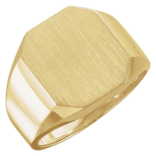 14k Yellow Gold 14x16mm Men's Signet Ring , Size 10