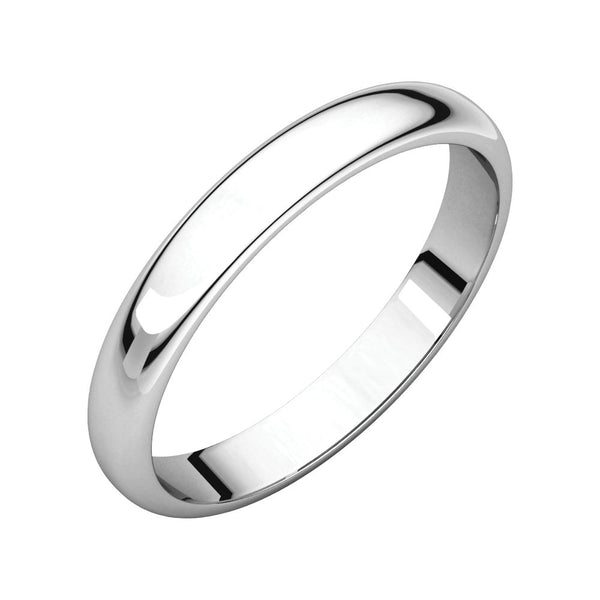 Sterling Silver 3mm Half Round Band, Size 8.5