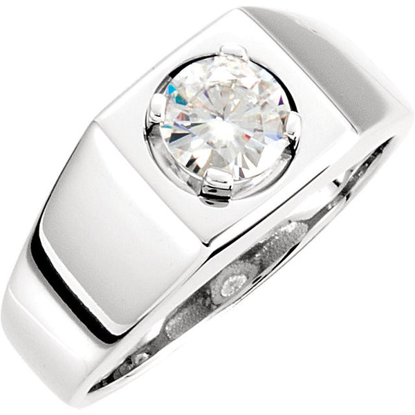 14k White Gold  Created Moissanite Men's Solitaire Ring, Size 10