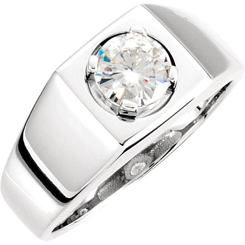 14K White Gold Created Moissanite Men's Ring (Size 10)