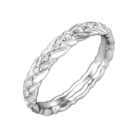 14k White Gold 1/5 CTW Diamond Sculptural-Inspired Eternity Band Size 7