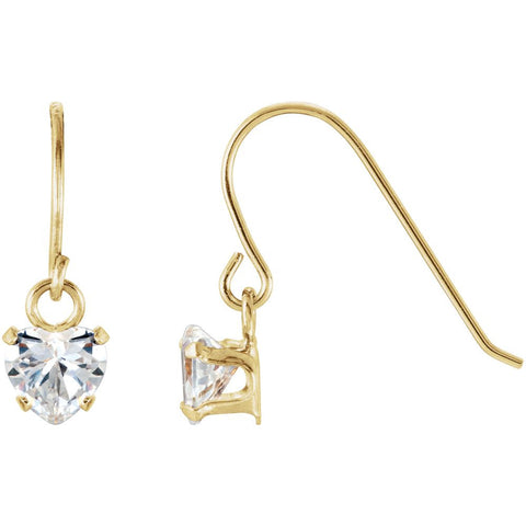 14K Yellow Gold 4mm Heart Shape Dangle Kids Earrings