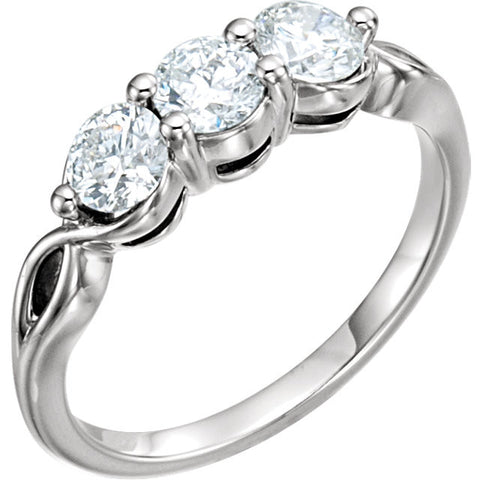 14k White Gold 1 CTW Diamond Three-Stone Ring , Size 7