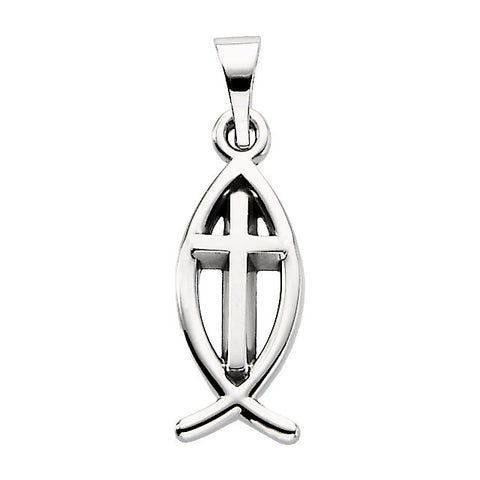 Sterling Silver 14x6mm Fish Pendant with Cross