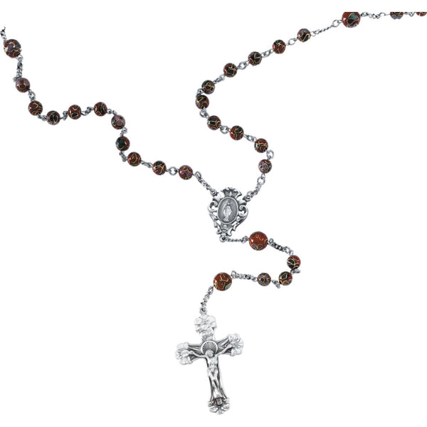 Sterling Silver Red Cloisonné Rosary
