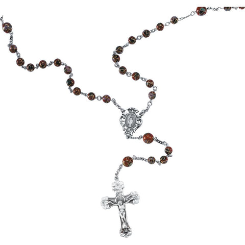 Red Cloisonn? Rosary in Sterling Silver