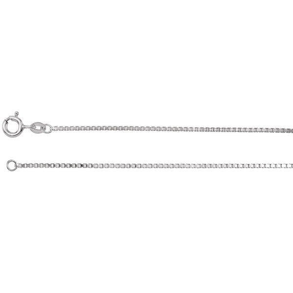 "Sterling Silver 1.25mm Solid Diamond Cut Box 16"" Chain"