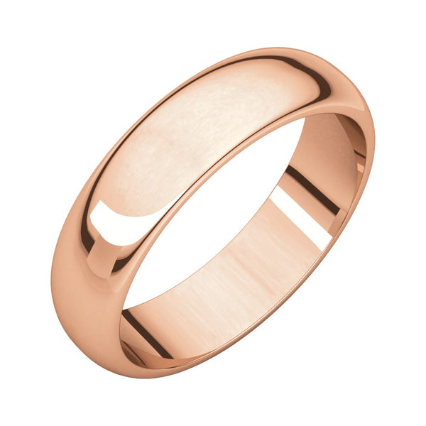 10k Rose Gold Half Round Band, Size 11