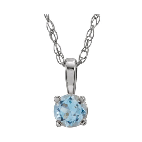 "Sterling Silver Imitation Aqua ""March"" Birthstone 14"" Necklace"