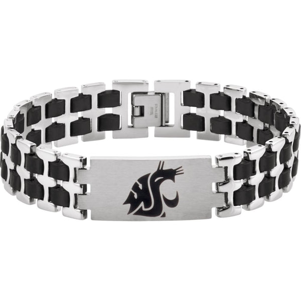 "Stainless Steel Washington State Cougars Logo 8.5"" Bracelet"