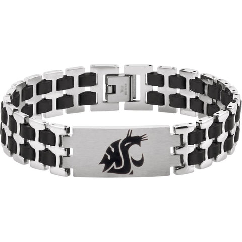 Stainless Steel Washington State Cougars Logo 8.5-Inch Bracelet