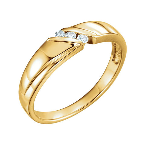 0.08 CTTW Men's Wedding Band Ring in 14k Yellow Gold ( Size 10 )