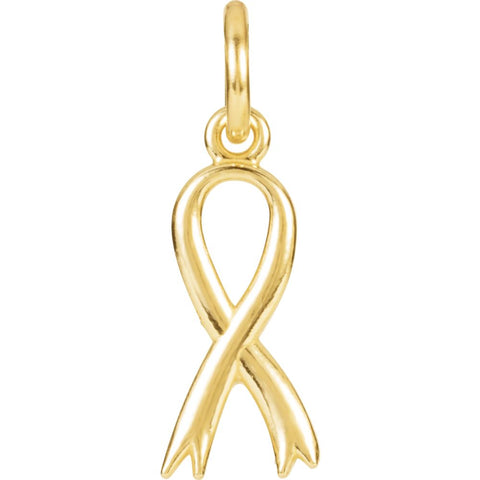 14k Yellow Gold Breast Cancer Awareness Ribbon Charm with Jump Ring