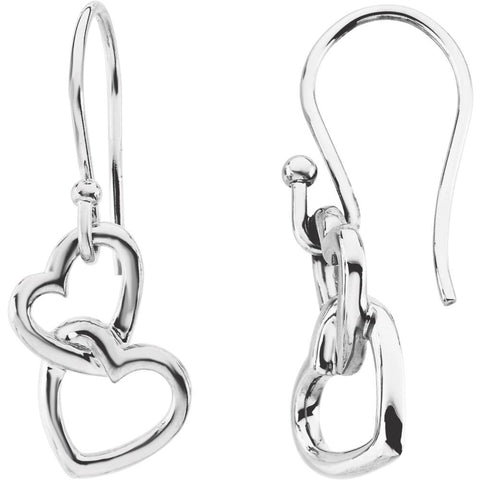 16.50X9.50 mm Pair of Fashion Heart Earrings in 14K White Gold