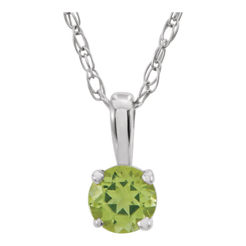 "14k White Gold Imitation Peridot ""August"" Birthstone 14-inch Necklace for Kids"