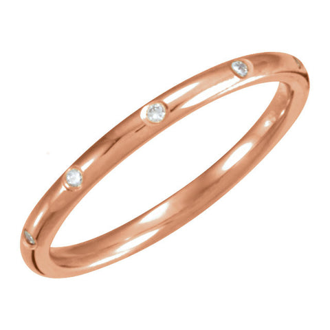 14k Rose Gold 1/10 CTW Diamond Eternity Band, Size 6