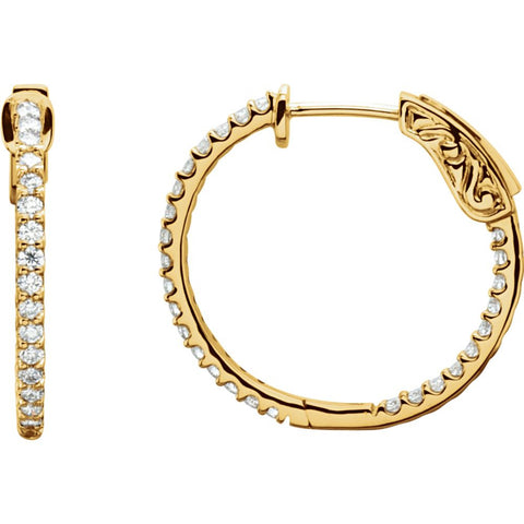 14k Yellow Gold 3/4 CTW Diamond Inside/Outside Hoop Earrings