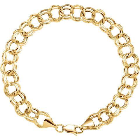 "14k Yellow Gold 5.7mm Double Link Charm 7.25"" Bracelet"