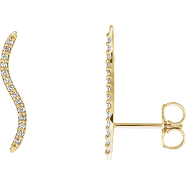 14k Yellow Gold 1/6 CTW Diamond Wavy Ear Climbers