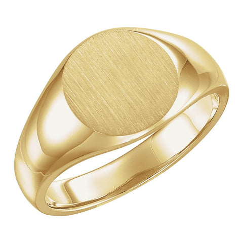 13.00 mm Men's Signet Ring with Brush Finished Top in 10k Yellow Gold ( Size 10 )