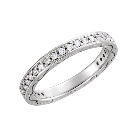 14k White Gold 3/8 CTW Diamond Eternity Band Size 6